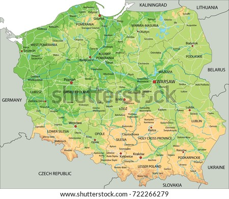 High Detailed Poland Physical Map Labeling Stock Vector - Lithuania physical map