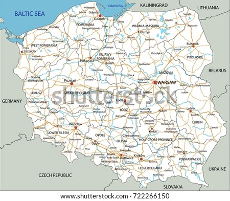 High Detailed Poland Road Map Labeling Stock Vector 722266150