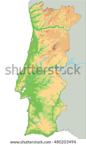 High Detailed Portugal Physical Map Stock Vector - Portugal physical map