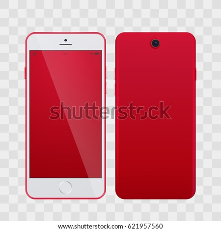 High Detailed Realistic Red Smartphone with Blank Screen isolated on transparent Background. Smartphone, phone realistic vector illustration. Mobile phone, samartphone mockup with blank screen.