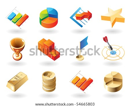 High detailed realistic vector icons for business metaphors - stock vector
