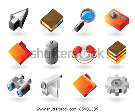 High detailed realistic vector icons for computer and website interface - stock vector