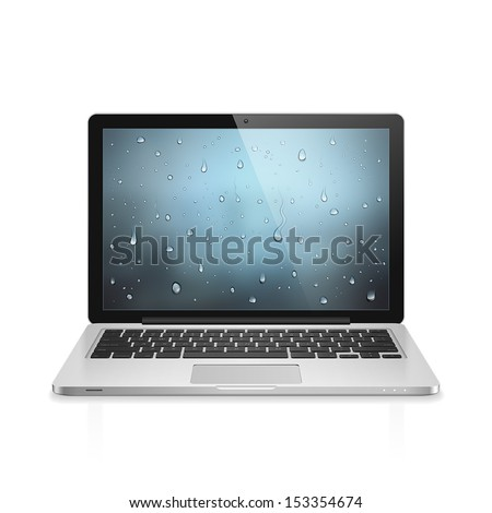 High detailed realistic vector illustration of modern laptop with water drops wallpaper on screen isolated on white background - stock vector