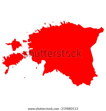 High detailed red vector map - Estonia