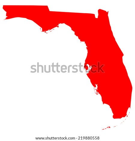 High detailed red vector map - Florida