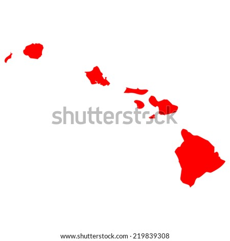 High detailed red vector map - Hawaii