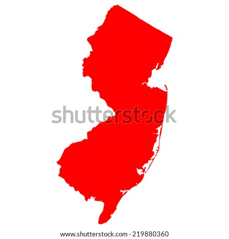 High detailed red vector map - New Jersey  - stock vector