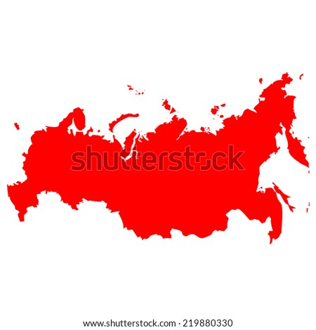 High detailed red vector map - Russia  - stock vector