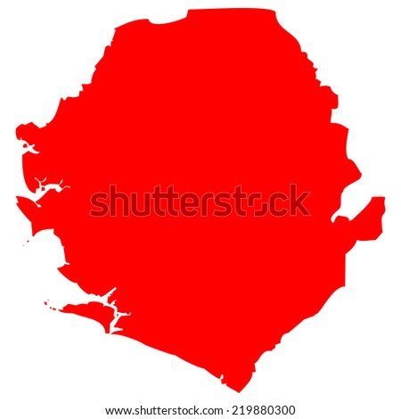 High detailed red vector map - Sierra Leone