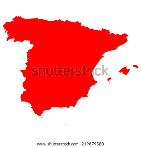 High detailed red vector map - Spain  - stock vector