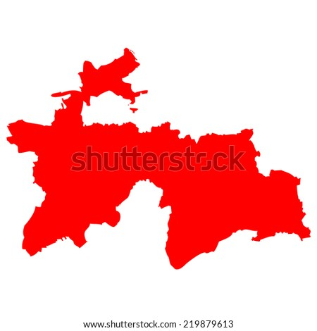 High detailed red vector map - Tajikistan