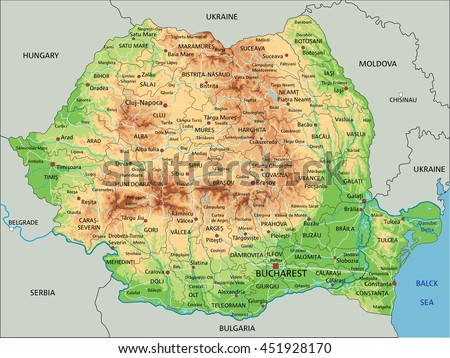 High Detailed Romania Physical Map Labeling Stock Vector 451928170