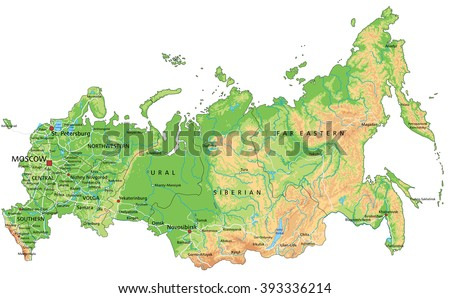 High detailed Russia physical map with labeling. - stock vector
