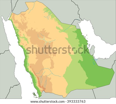 High Detailed Saudi Arabia Physical Map Stock Vector 393333763