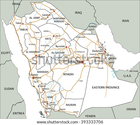 high detailed saudi arabia road map with labeling