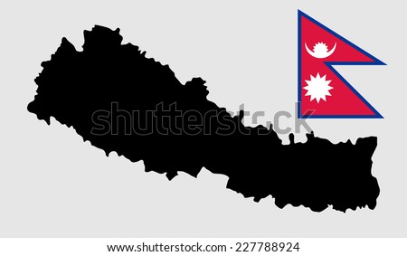 High detailed silhouette illustration vector map - Nepal. Original and simple Nepal flag isolated vector in official colors and Proportion Correctly. Democratic Republic of Nepal - vector map.