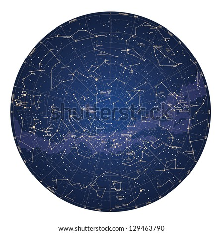 High detailed sky map of Southern hemisphere with names of stars and constellations colored vector - stock vector
