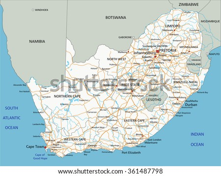 High detailed South Africa road map with labeling. - stock vector