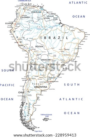 High Detailed South America Road Map Stock Vector 228959413