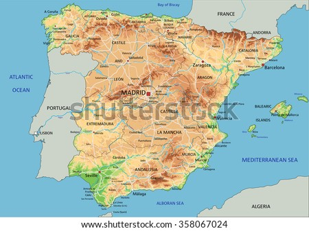 High detailed Spain physical map with labeling. - stock vector