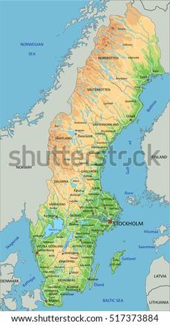 Sweden Map Stock Images RoyaltyFree Images Vectors Shutterstock - Sweden terrain map