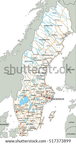 High Detailed Sweden Road Map Labeling Stock Vector 517373899