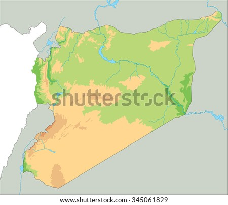 High Detailed Syria Physical Map Stock Vector 345061829 Shutterstock