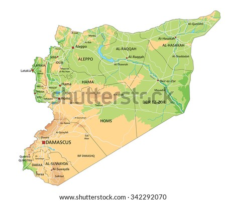 High detailed Syria physical map with labeling. - stock vector