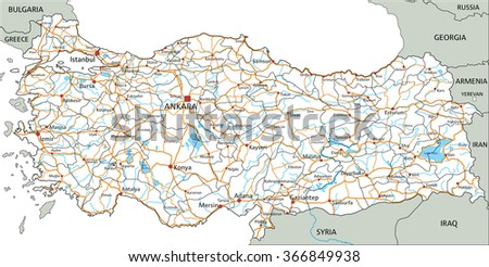 High detailed Turkey road map with labeling. - stock vector