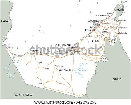 High Detailed United Arab Emirates Road Stock Vector 342292256