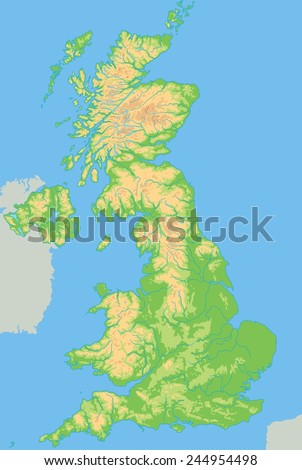High detailed United Kingdom physical map. - stock vector