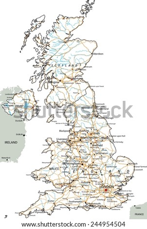 High detailed United Kingdom road map with labeling. - stock vector