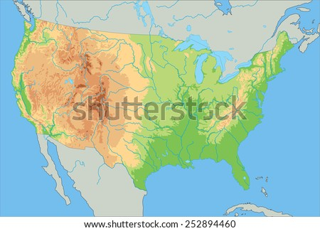 Relief Map United States Drendering Stock Illustration - United states of america physical map