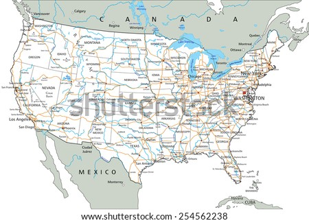 High detailed United States of America road map with labeling. - stock vector