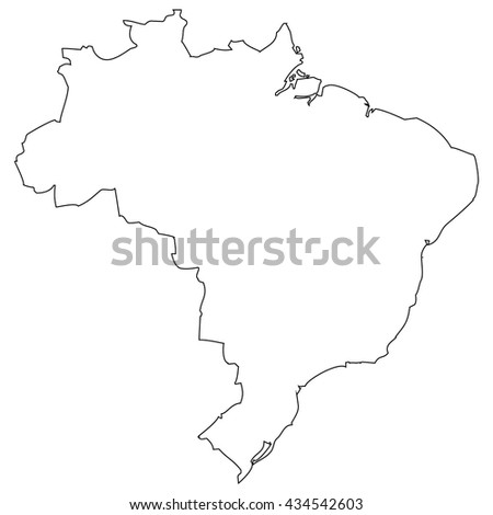 High detailed vector contour map - Brazil