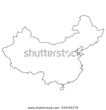 High detailed vector contour map - China