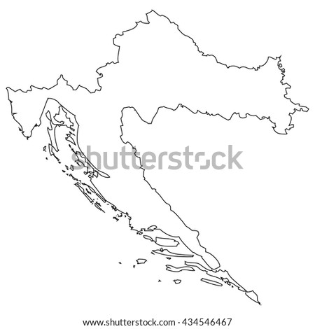 High detailed vector contour map - Croatia