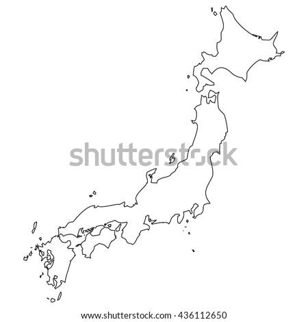 High detailed vector contour map - Japan - stock vector