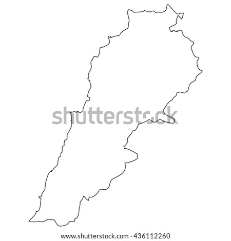 High detailed vector contour map - Lebanon