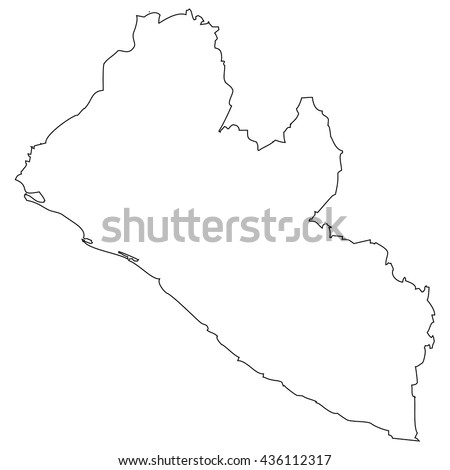 High detailed vector contour map - Liberia