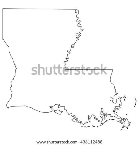 High detailed vector contour map - Louisiana - stock vector
