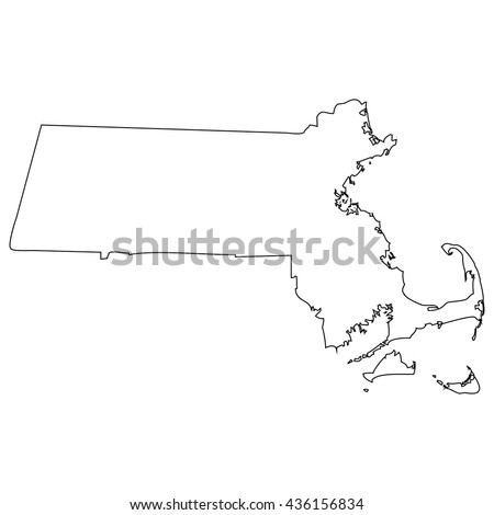 High detailed vector contour map - Massachusetts