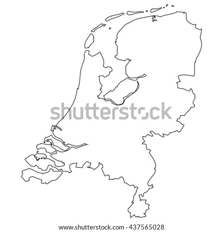 High detailed vector contour map - Netherlands
