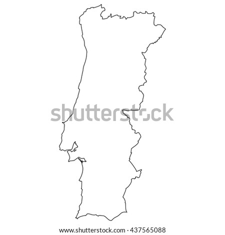 High detailed vector contour map - Portugal