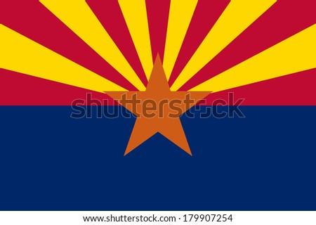 High detailed vector flag of Arizona - stock vector