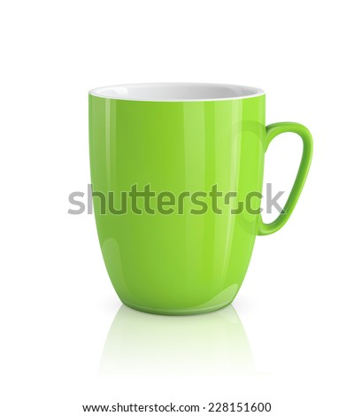 High detailed vector illustration of green cup isolated on white background