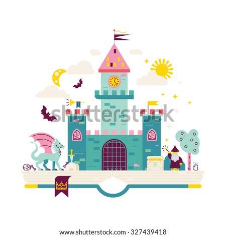 High detailed vector illustration of magic kingdom. Modern flat design. Wizard, dragon and castle on the pages of the book. Illustration for children education. - stock vector