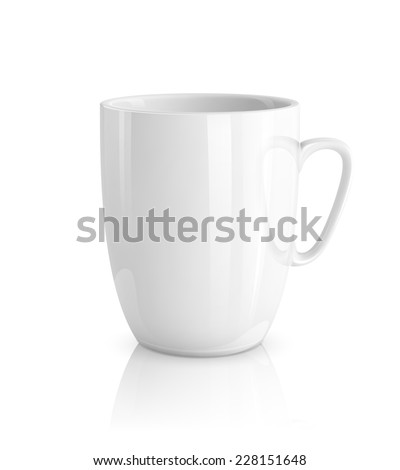 High detailed vector illustration of white cup isolated on white background - stock vector