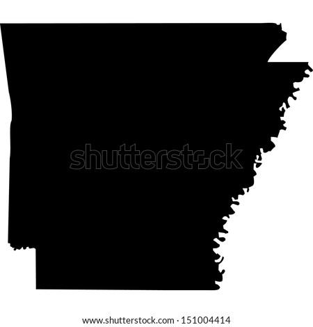 High detailed vector map - Arkansas  - stock vector