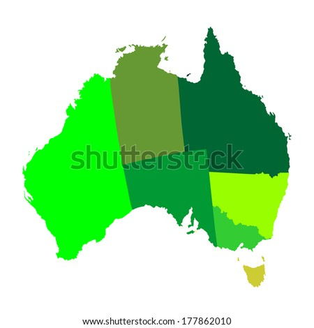 High detailed vector map - Australia outline. Isolated on white background. All elements are separated. Green illustration. - stock vector